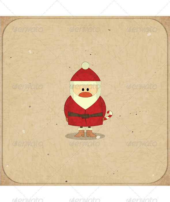 Merry Christmas Retro card with Santa Claus