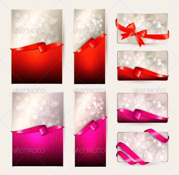 Set of Colorful Gift Cards with Gift Ribbons