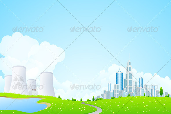 Green Landscape with City Lake and Power Plant