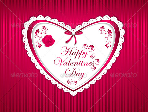 Happy Valentines Day with Flower Ribbon