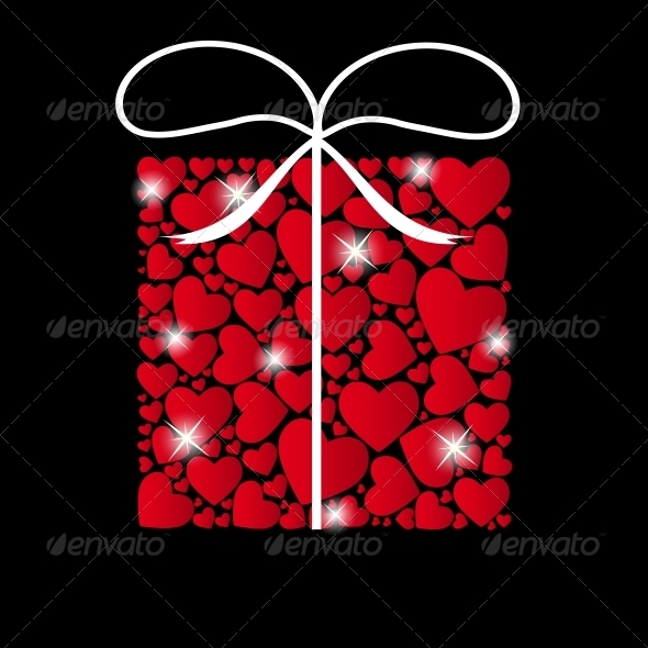 Valentines Day Heart Background - Vector
