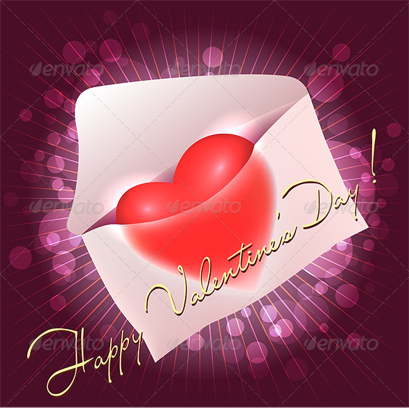 Greeting Card with Heart in the Message