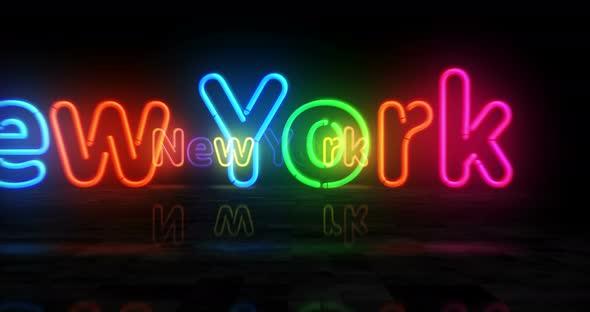 New York neon symbol 3d flight between