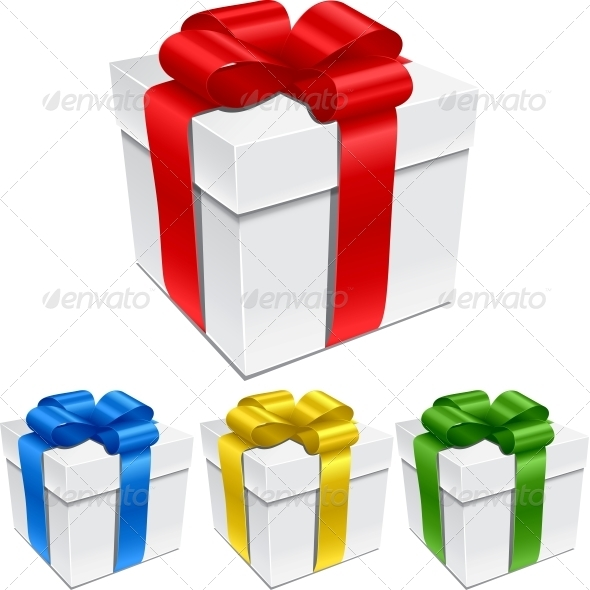 Set of Gift Boxes with Bows and Ribbons