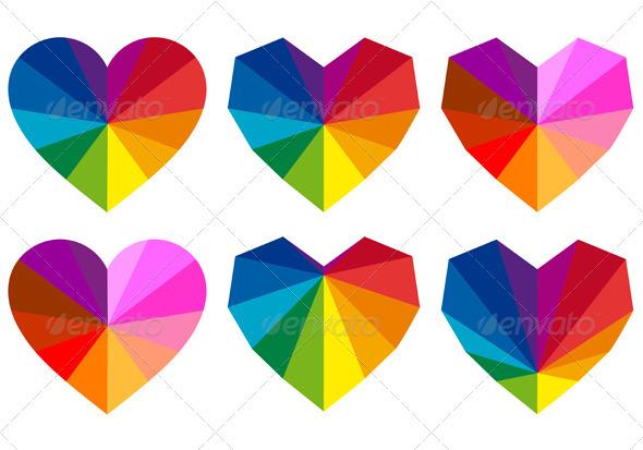Colorful Geometric Hearts, Vector Set