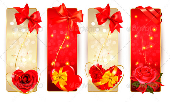 Set of Beautiful Cards with Red Gift Bows