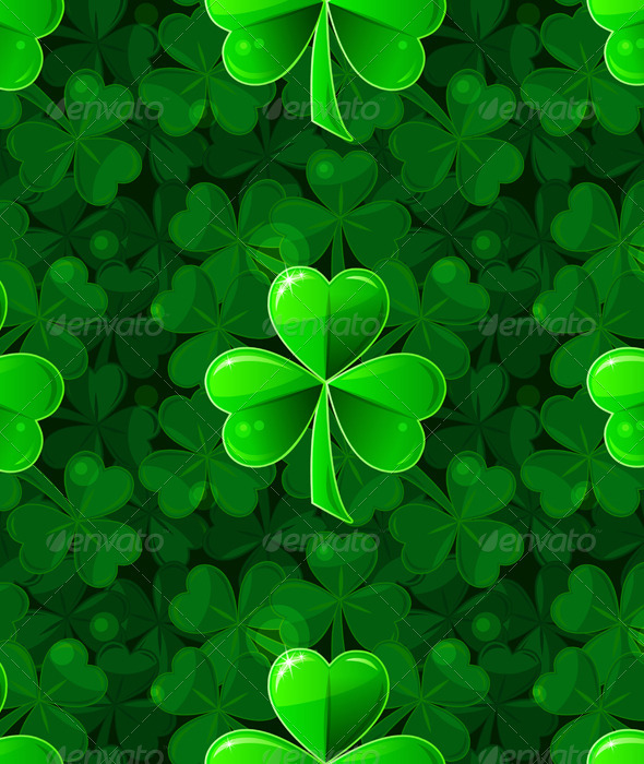 Vector Green Seamless Background with Clover