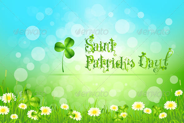 Saint Patrick's Day with Flowers and Shamrock