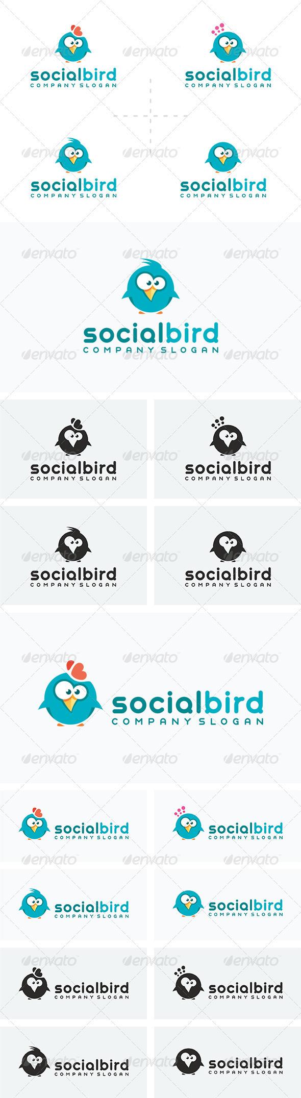 4 Social Bird Logos