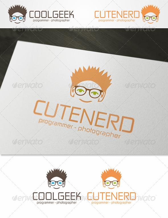 Cute Nerd - Geek Logo Template