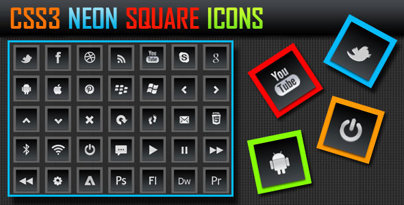 CSS3 Neon Square Icons