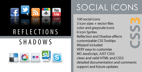 Social Icons - CSS3 Reflections & Shadows