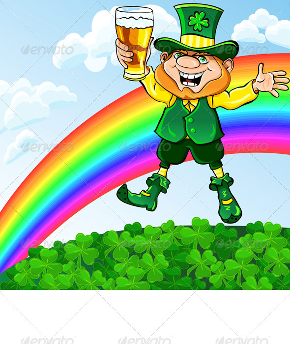 Vector Leprechaun with a Glass of Beer