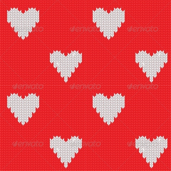 Seamless Knitted Background with Hearts