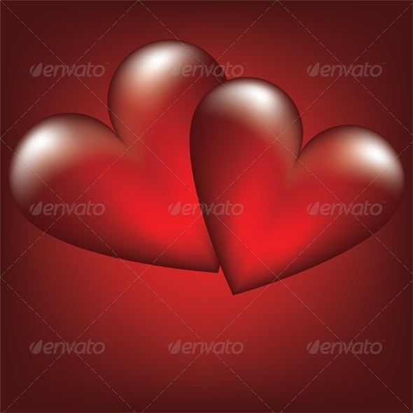 Valentine card with two heart