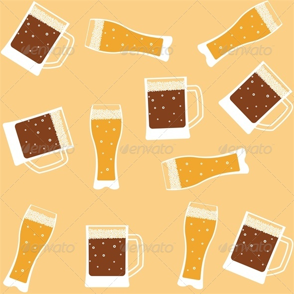 Seamless background with mug of beer