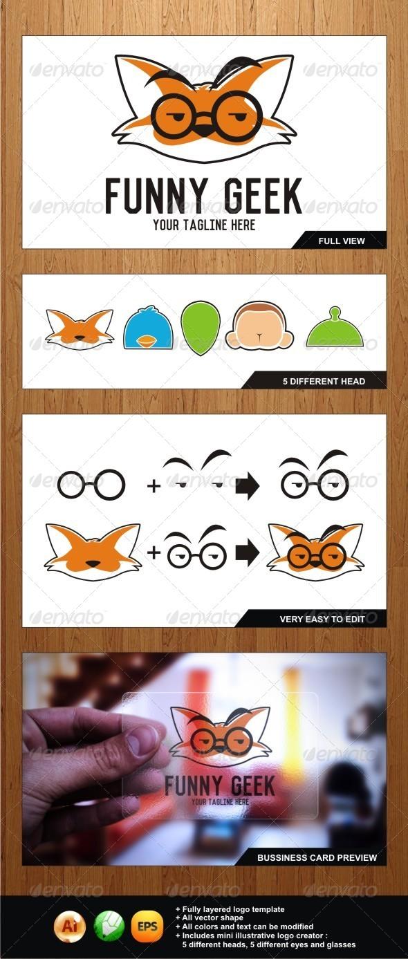 Funny Geek - Illustrative Logo for Geek Lovers