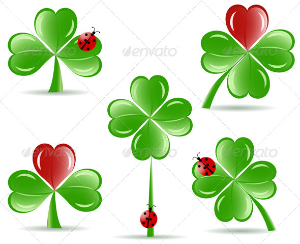 Shamrocks with Four Lucky Leaves