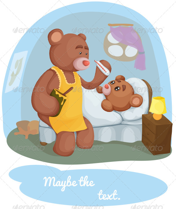 Sick Teddy Bear With Her Mother
