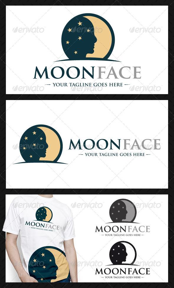 Moon Face Logo Template