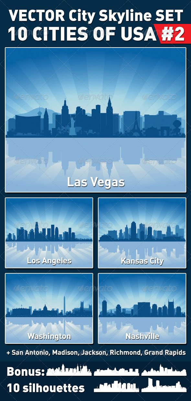 Vector City Skyline Set. USA #2