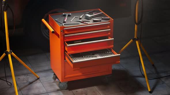 Garage tools organized in metal tool locker. The workshop tools cabinet. Toolbox