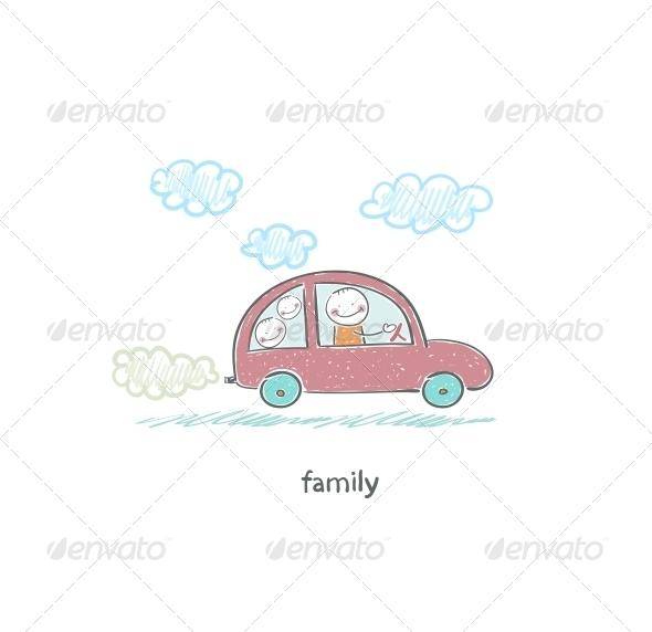 Family Car. Illustration.