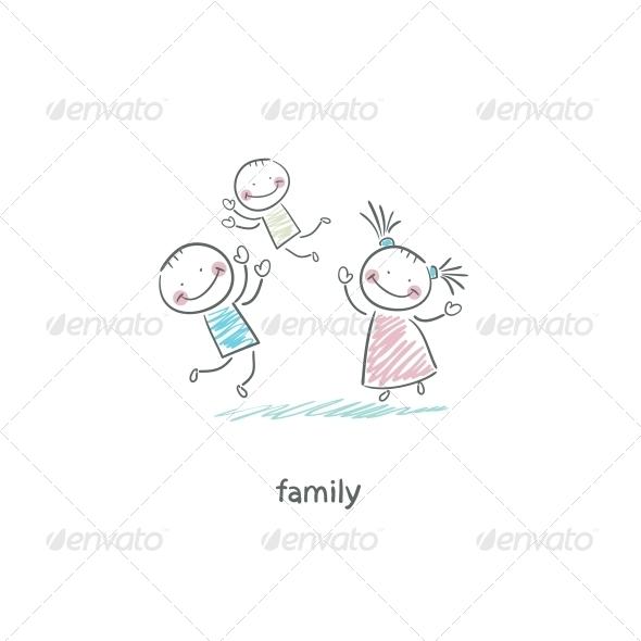 Happy Family. Illustration.