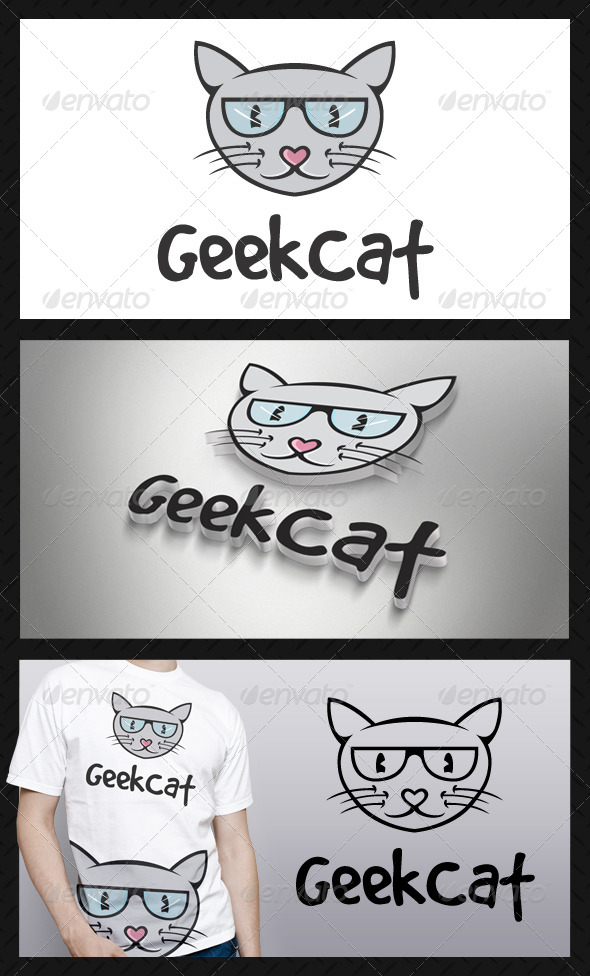 Geek Cat Logo Template