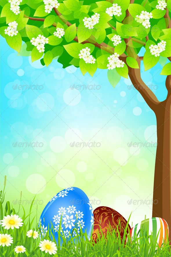 Green Tree Background with Easter Eggs