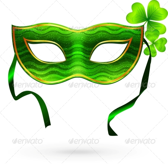 Green Carnival Mask with Clovers