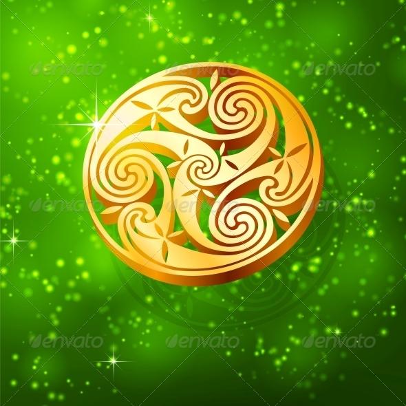 Magic Golden Triskel on Green Background