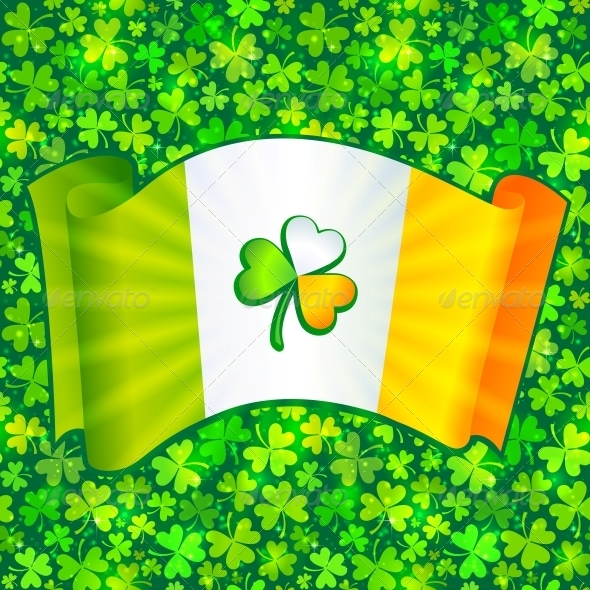Celtic Clover on Irish Flag at Green Clovers