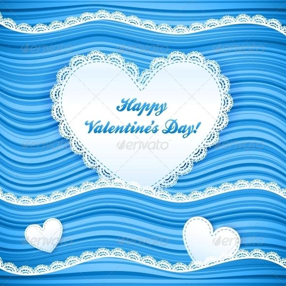 Vector Blue Wavy Valentine's Day Background