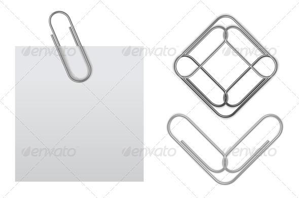 Vector Sticky Note with Paper Clip