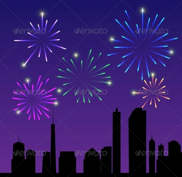 Fireworks City Vector Illustration