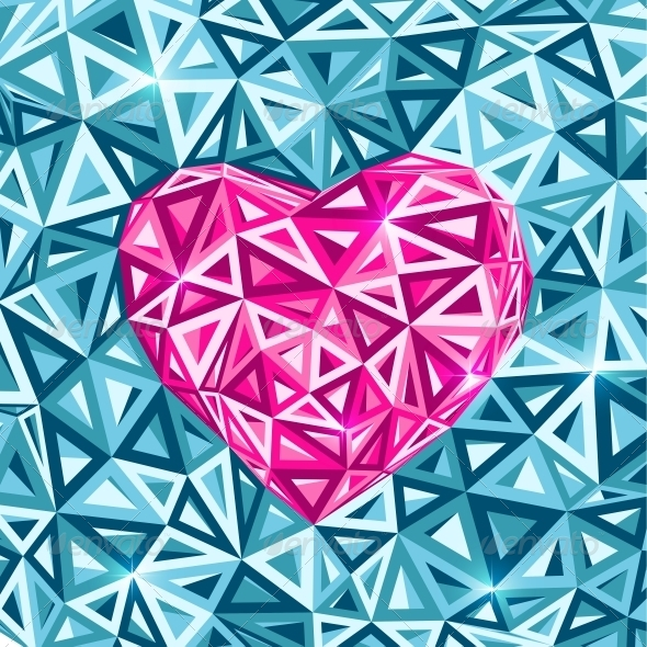 Pink Abstract Valentines Day Heart