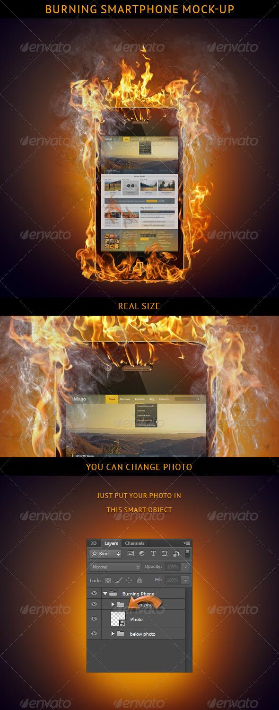 Burning Smartphone Mock-up