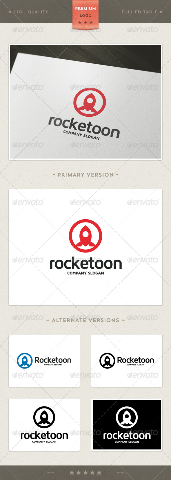Rocketoon - Rocket Symbol Logo Template
