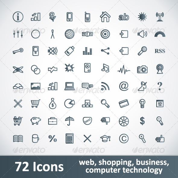 Large Icons Set. 72 Items