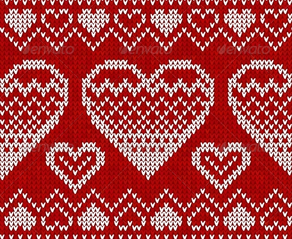Valentines Day Red Knitted Seamless Pattern