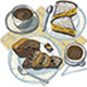 Two Coffees with Cakes and Chocolates - GraphicRiver Item for Sale