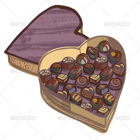 Valentine Heart Chocolate Box with Various Chocolates