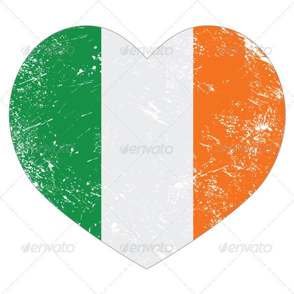 Ireland Heart Retro Flag - St Patricks Day