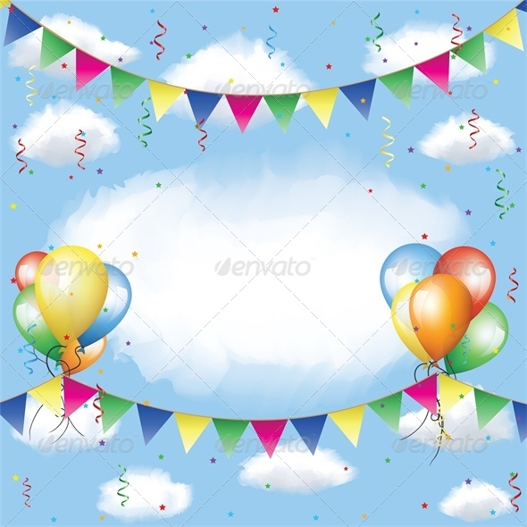 Banner, Balloons and Confetti in the Sky