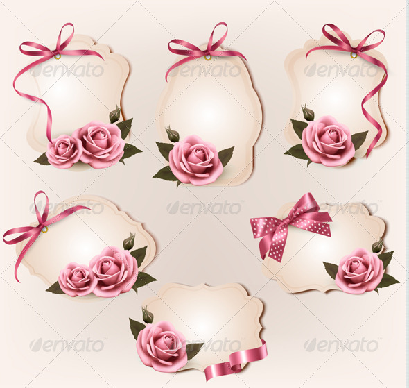 Set of Retro Labels with Pink Rose