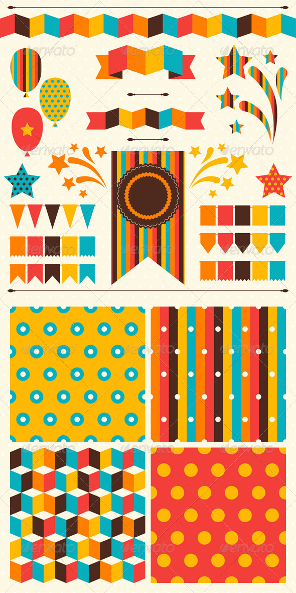 Collection of Decorations and Patterns for Holiday.