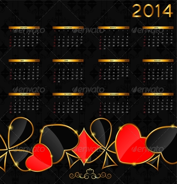 2014 New Year Calendar in Poker Theme