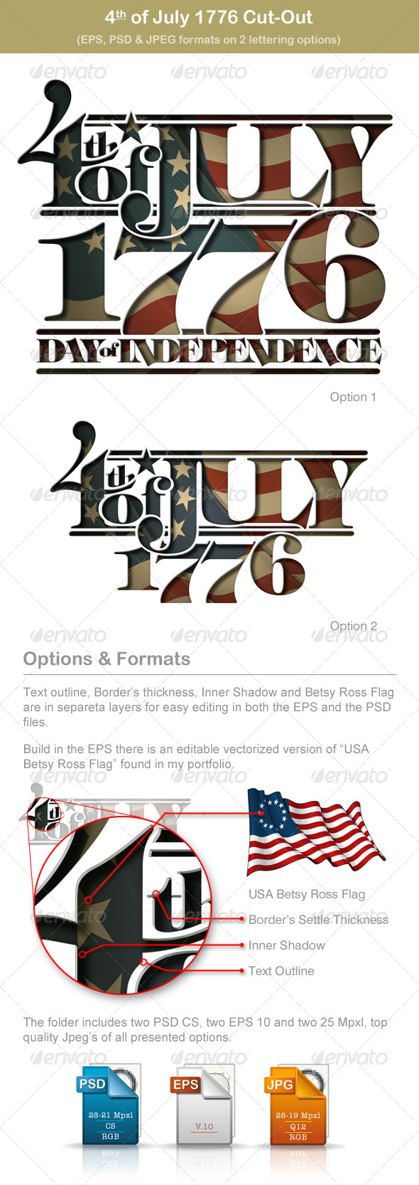 4th of July 1776 Cut-Out