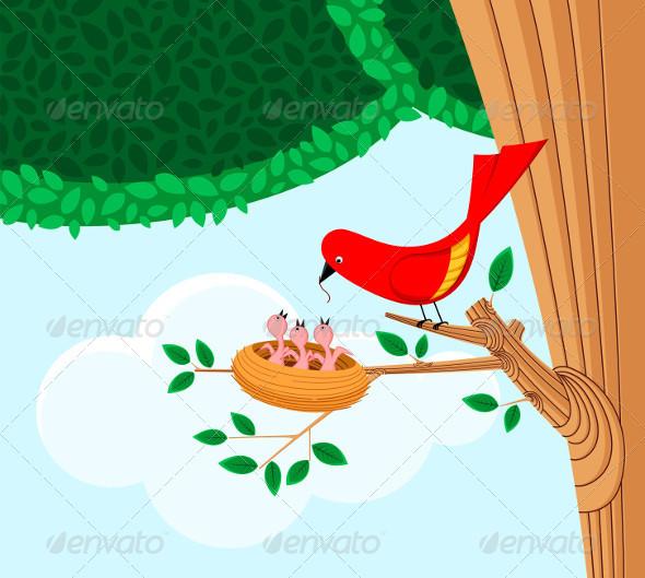 Bird Feeding Her Child